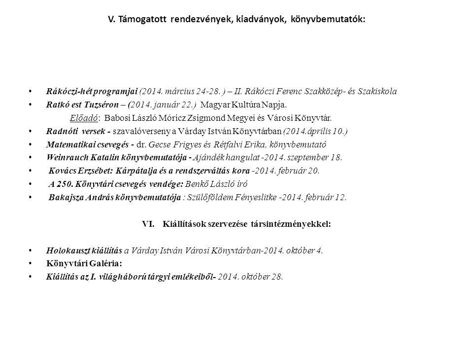 V. Támogatott rendezvények, kiadványok, könyvbemutatók: Rákóczi-hét programjai (2014.