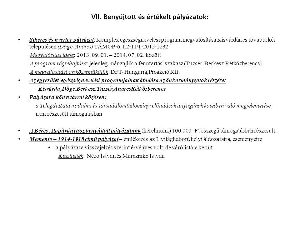 VIII.Közreműködők, előadók, kiállítást megnyítók 2014-ben: Külső előadók: dr.
