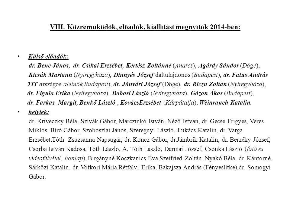 VIII. Közreműködők, előadók, kiállítást megnyítók 2014-ben: Külső előadók: dr.