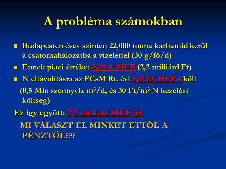 A probléma számokban Budapesten éves szinten 22,000 tonna karbamid kerül a csatornahálózatba a vizelettel (30 g/fő/d) Budapesten éves szinten 22,000 tonna karbamid kerül a csatornahálózatba a vizelettel (30 g/fő/d) Ennek piaci értéke: 2,2*10 9 HUF (2,2 milliárd Ft) Ennek piaci értéke: 2,2*10 9 HUF (2,2 milliárd Ft) N eltávolításra az FCsM Rt.