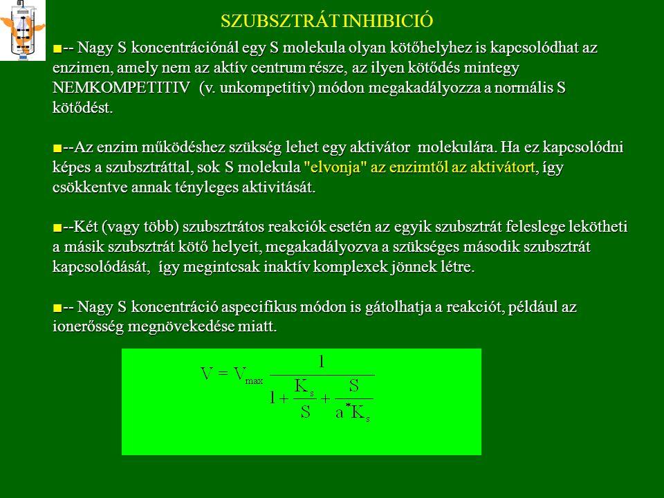 SZUBSZTRÁT INHIBICIÓ -- A szubsztrátnak ahhoz, hogy termékképző átmeneti komplex jöjjön létre, két vagy több helyen kell, hogy az enzimhez kötődjék.