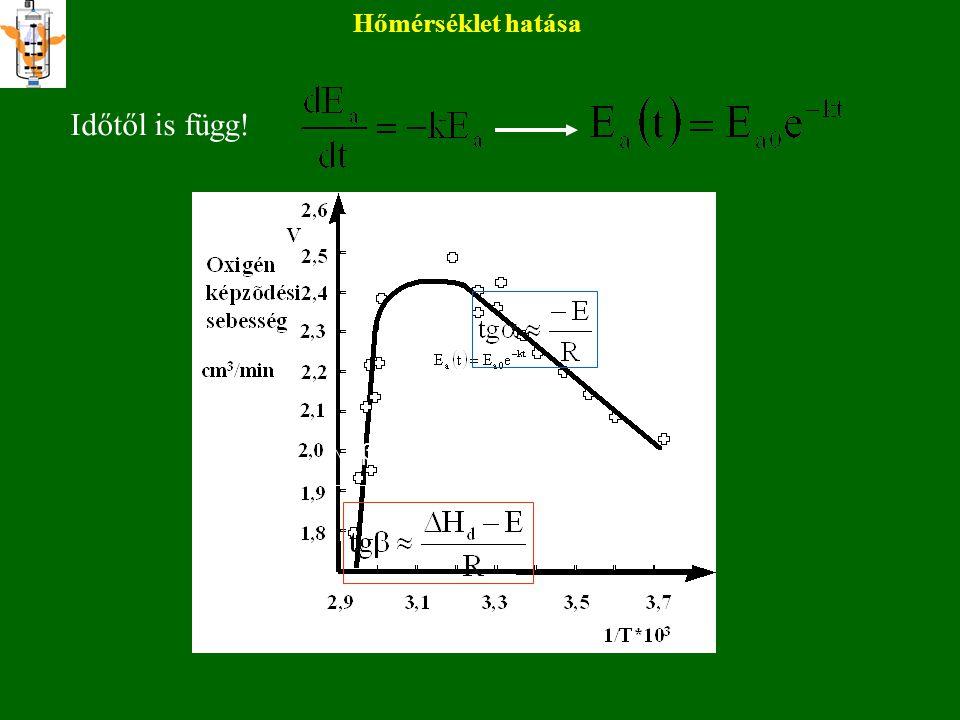 Hőmérséklet hatása Kettős hatás Reakciósebesség nő Csökken: denaturálódás irreverzibilis reverzibilis E a E i KdKd Mivel E 0 = E a + E i  = kombináció (β,k B,h,E 0,  S*) K m is függ T-től!