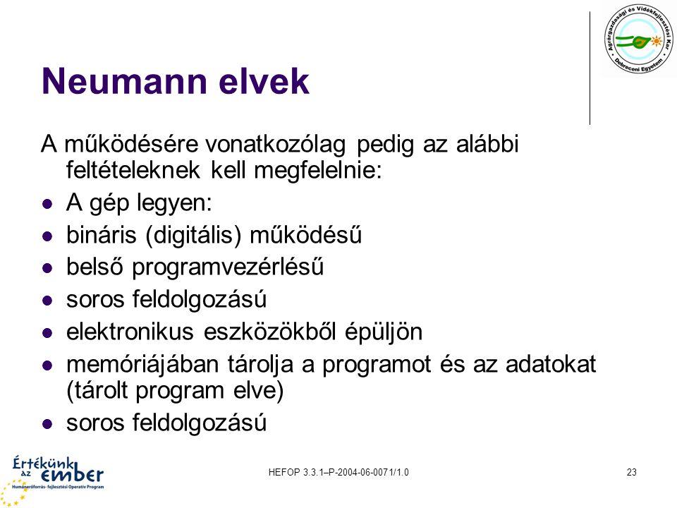 HEFOP 3.3.1–P-2004-06-0071/1.023 Neumann elvek A működésére vonatkozólag pedig az alábbi feltételeknek kell megfelelnie: A gép legyen: bináris (digitális) működésű belső programvezérlésű soros feldolgozású elektronikus eszközökből épüljön memóriájában tárolja a programot és az adatokat (tárolt program elve) soros feldolgozású
