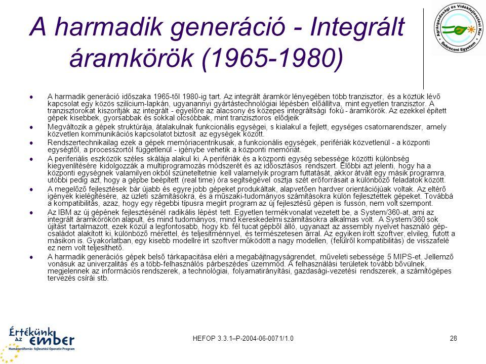 HEFOP 3.3.1–P-2004-06-0071/1.028 A harmadik generáció - Integrált áramkörök (1965-1980) A harmadik generáció időszaka 1965-től 1980-ig tart.
