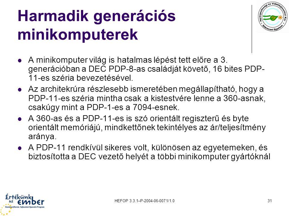 HEFOP 3.3.1–P-2004-06-0071/1.031 Harmadik generációs minikomputerek A minikomputer világ is hatalmas lépést tett előre a 3.