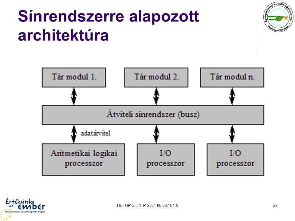 HEFOP 3.3.1–P-2004-06-0071/1.032 Sínrendszerre alapozott architektúra
