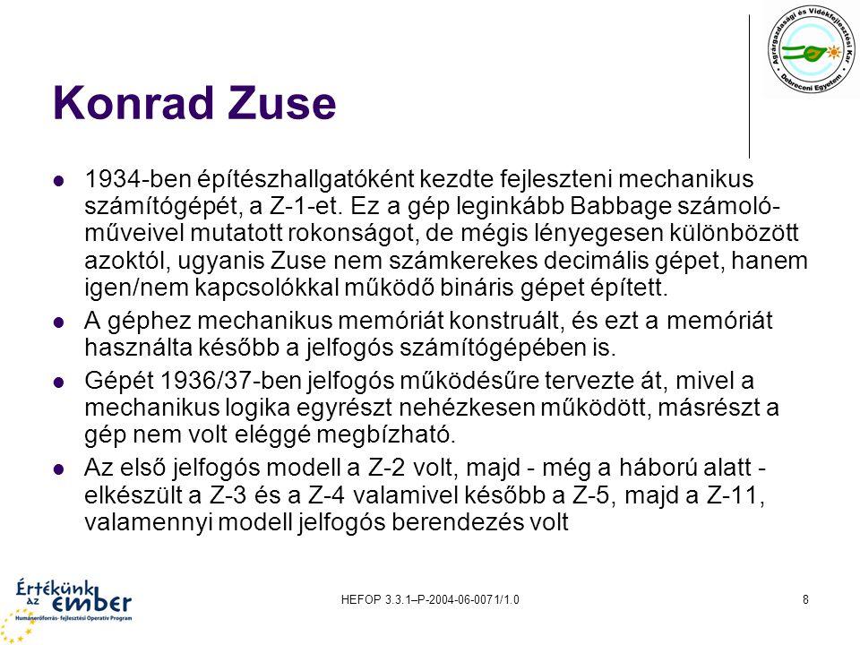 HEFOP 3.3.1–P-2004-06-0071/1.08 Konrad Zuse 1934-ben építészhallgatóként kezdte fejleszteni mechanikus számítógépét, a Z-1-et.
