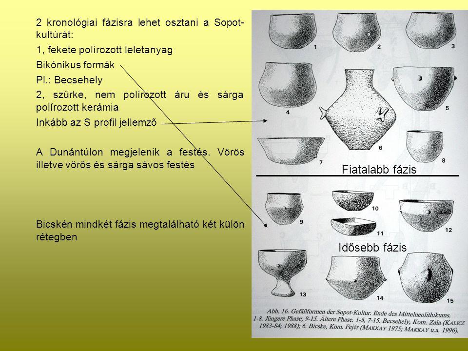 2 kronológiai fázisra lehet osztani a Sopot- kultúrát: 1, fekete polírozott leletanyag Bikónikus formák Pl.: Becsehely 2, szürke, nem polírozott áru é