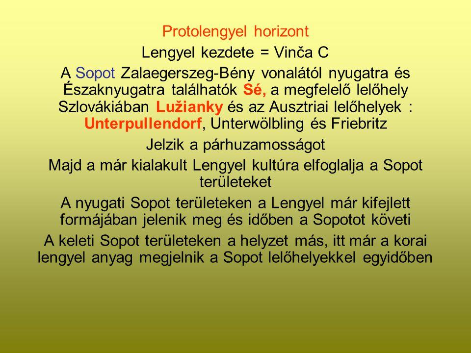 Protolengyel horizont Lengyel kezdete = Vinča C A Sopot Zalaegerszeg-Bény vonalától nyugatra és Északnyugatra találhatók Sé, a megfelelő lelőhely Szlo