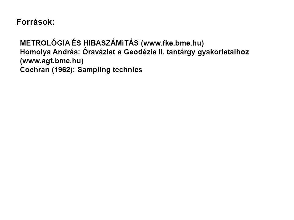 Források: METROLÓGIA ÉS HIBASZÁMíTÁS (www.fke.bme.hu) Homolya András: Óravázlat a Geodézia II. tantárgy gyakorlataihoz (www.agt.bme.hu) Cochran (1962)