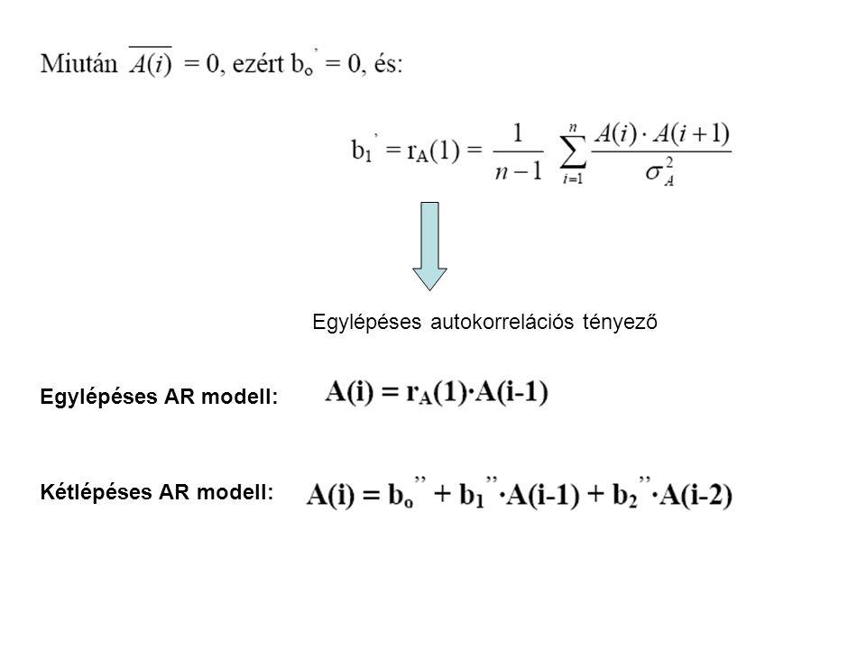 Egylépéses autokorrelációs tényező Egylépéses AR modell: Kétlépéses AR modell:
