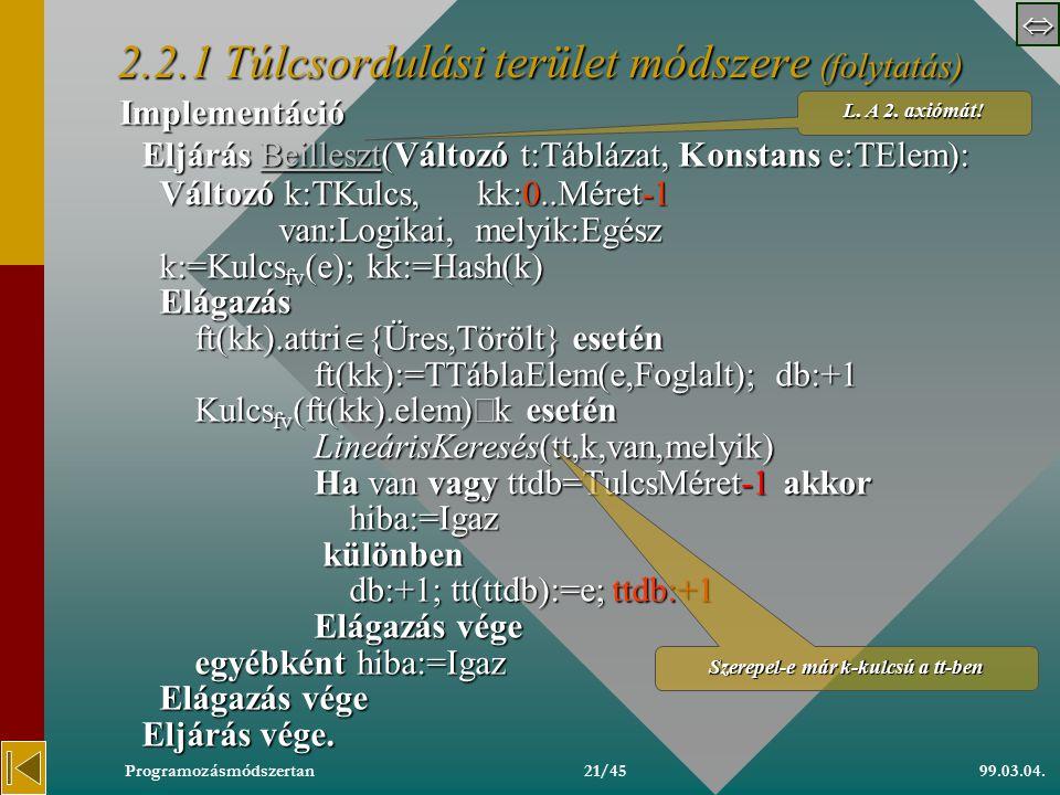  99.03.04.Programozásmódszertan20/45 22 A táblázat típuskonstrukció specifikációja 2.2. A táblázat megvalósítási moduljai 2.2.1 Túlcsordulási terü