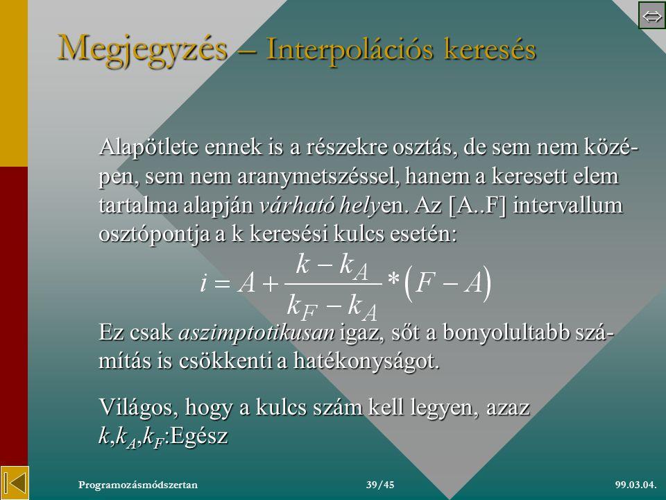  99.03.04.Programozásmódszertan38/45 Megjegyzés – Fibonacci keresés Lényegében logaritmikus keresés, de nem felezi az intervallumot, hanem aranyme