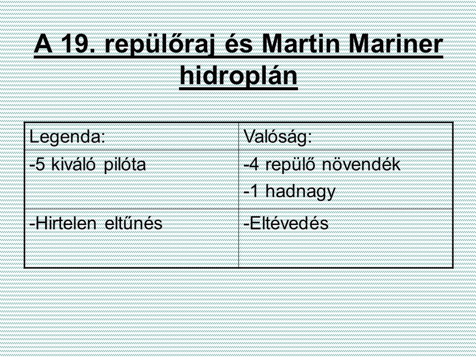 A 19. repülőraj és Martin Mariner hidroplán Legenda:Valóság: -5 kiváló pilóta-4 repülő növendék -1 hadnagy -Hirtelen eltűnés-Eltévedés