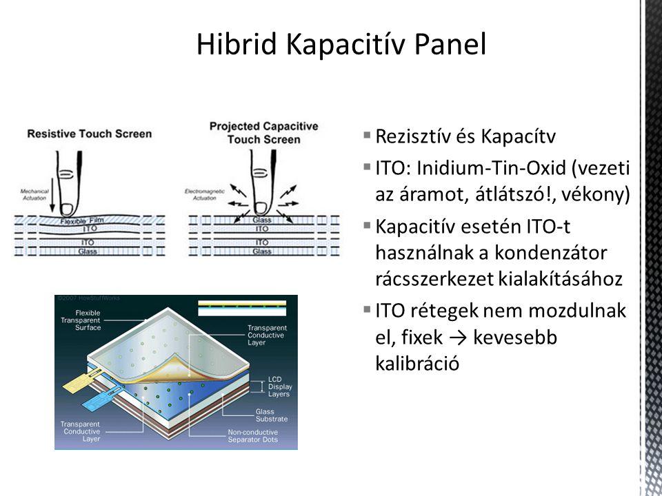  Rezisztív és Kapacítv  ITO: Inidium-Tin-Oxid (vezeti az áramot, átlátszó!, vékony)  Kapacitív esetén ITO-t használnak a kondenzátor rácsszerkezet kialakításához  ITO rétegek nem mozdulnak el, fixek → kevesebb kalibráció