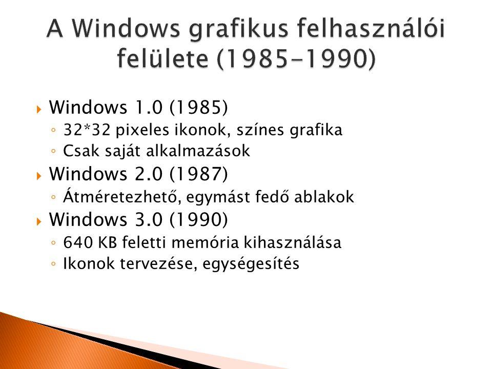  Windows 1.0 (1985) ◦ 32*32 pixeles ikonok, színes grafika ◦ Csak saját alkalmazások  Windows 2.0 (1987) ◦ Átméretezhető, egymást fedő ablakok  Windows 3.0 (1990) ◦ 640 KB feletti memória kihasználása ◦ Ikonok tervezése, egységesítés