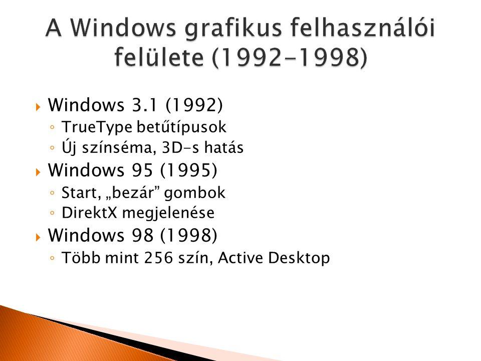 """ Windows 3.1 (1992) ◦ TrueType betűtípusok ◦ Új színséma, 3D-s hatás  Windows 95 (1995) ◦ Start, """"bezár gombok ◦ DirektX megjelenése  Windows 98 (1998) ◦ Több mint 256 szín, Active Desktop"""