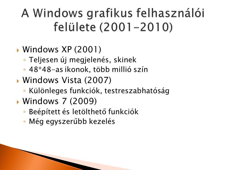  Windows XP (2001) ◦ Teljesen új megjelenés, skinek ◦ 48*48-as ikonok, több millió szín  Windows Vista (2007) ◦ Különleges funkciók, testreszabhatóság  Windows 7 (2009) ◦ Beépített és letölthető funkciók ◦ Még egyszerűbb kezelés