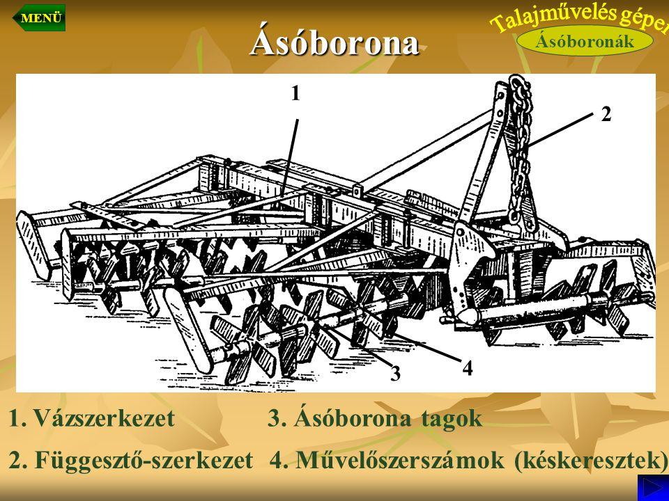 Ásóborona 1 2 3 4 2. Függesztő-szerkezet4. Művelőszerszámok (késkeresztek) 3. Ásóborona tagok1.Vázszerkezet Ásóboronák MENÜ