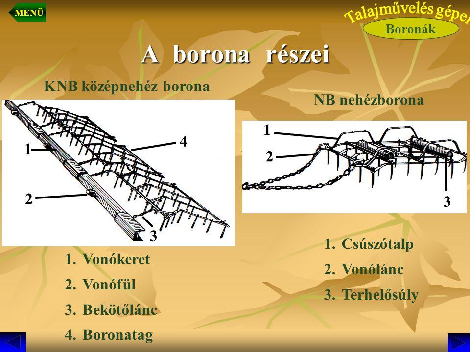 A borona részei KNB középnehéz borona 1.Vonókeret 2.Vonófül 3.Bekötőlánc 4.Boronatag 1.Csúszótalp 2.Vonólánc 3.Terhelősúly 2 3 1 2 3 4 1 NB nehézboron