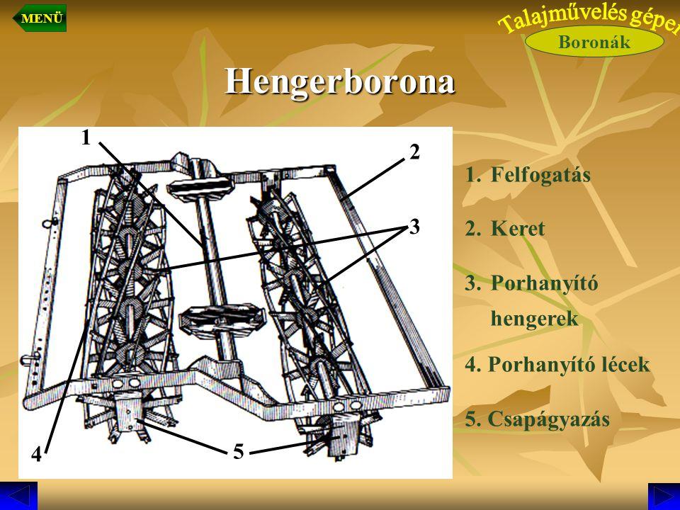 Hengerborona 1.Felfogatás 2.Keret 3.Porhanyító hengerek 4. Porhanyító lécek 5. Csapágyazás 5 4 1 2 3 Boronák MENÜ