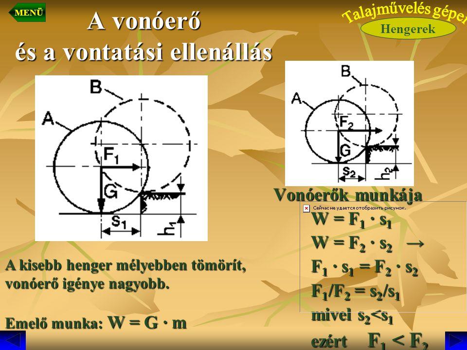A vonóerő és a vontatási ellenállás Vonóerők munkája Vonóerők munkája W = F 1 · s 1 W = F 2 · s 2 → F 1 · s 1 = F 2 · s 2 F 1 /F 2 = s 2 /s 1 mivel s