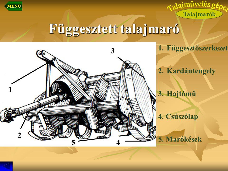 Függesztett talajmaró 1.Függesztőszerkezet 2.Kardántengely 3.Hajtómű 4. Csúszólap 5. Marókések 2 3 45 1 Talajmarók MENÜ