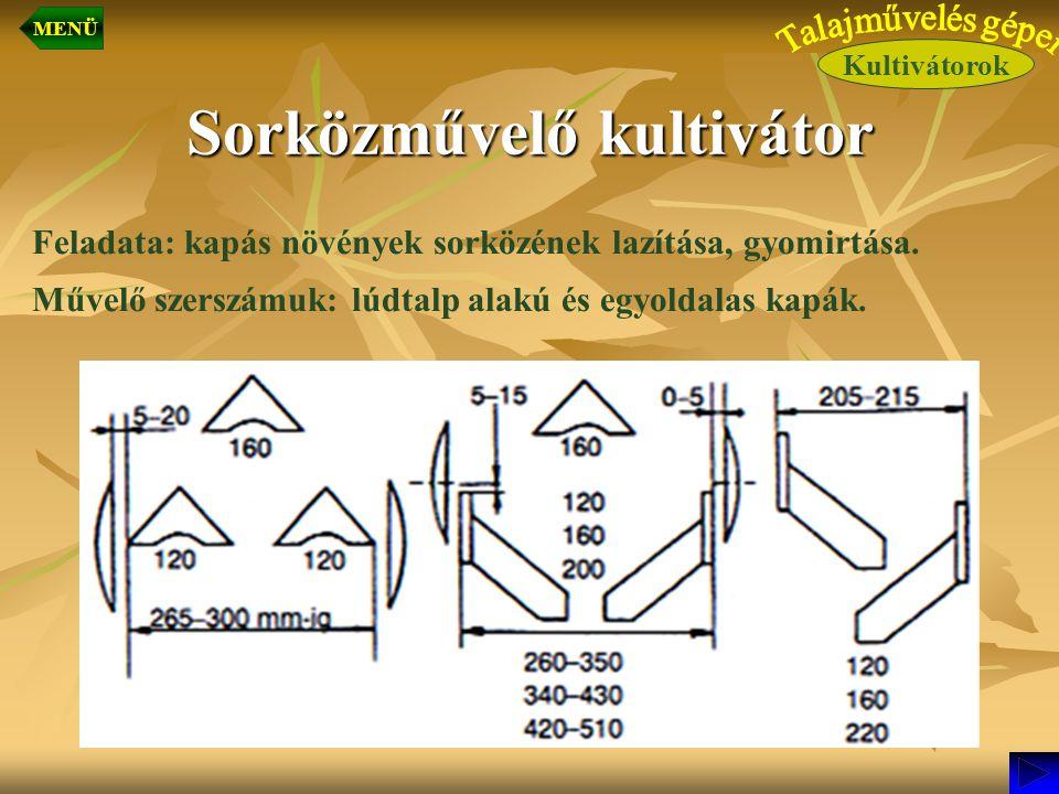 Sorközművelő kultivátor Feladata: kapás növények sorközének lazítása, gyomirtása. Művelő szerszámuk: lúdtalp alakú és egyoldalas kapák. Kultivátorok M