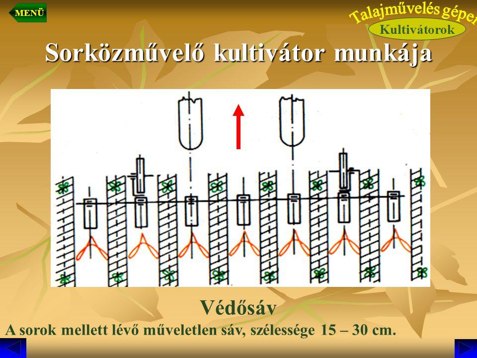 Sorközművelő kultivátor munkája Védősáv A sorok mellett lévő műveletlen sáv, szélessége 15 – 30 cm. Kultivátorok MENÜ