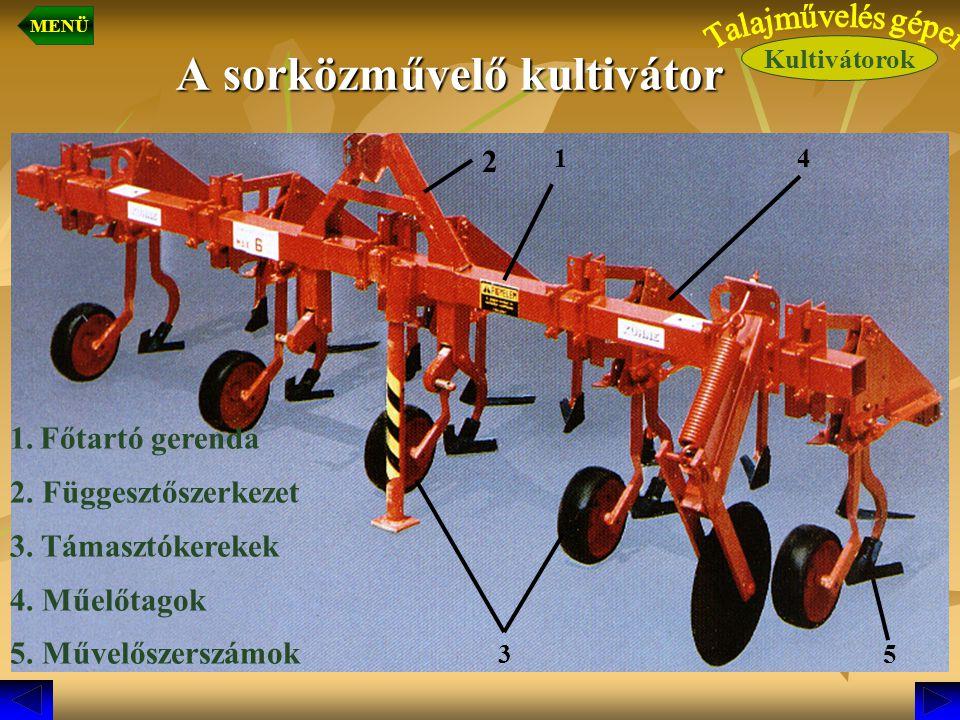 A sorközművelő kultivátor 1. Főtartó gerenda 2. Függesztőszerkezet 3. Támasztókerekek 4. Műelőtagok 5. Művelőszerszámok 1 2 3 4 5 Kultivátorok MENÜ