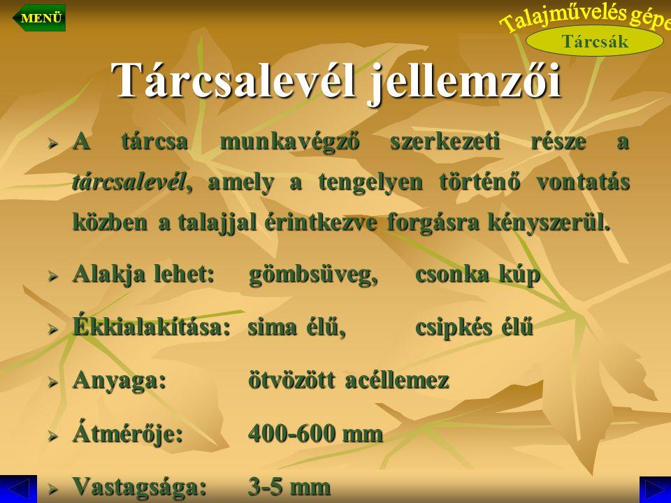 Függesztett tárcsa Tárcsák MENÜ