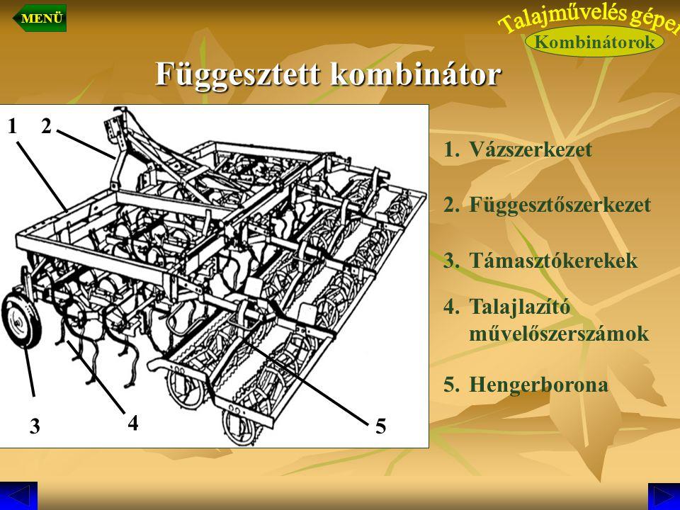 Függesztett kombinátor 1.Vázszerkezet 2.Függesztőszerkezet 3.Támasztókerekek 4.Talajlazító művelőszerszámok 5.Hengerborona 1 4 3 2 5 Kombinátorok MENÜ