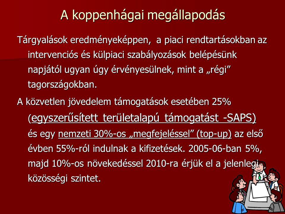"""A koppenhágai megállapodás Tárgyalások eredményeképpen, a piaci rendtartásokban az intervenciós és külpiaci szabályozások belépésünk napjától ugyan úgy érvényesülnek, mint a """"régi tagországokban."""