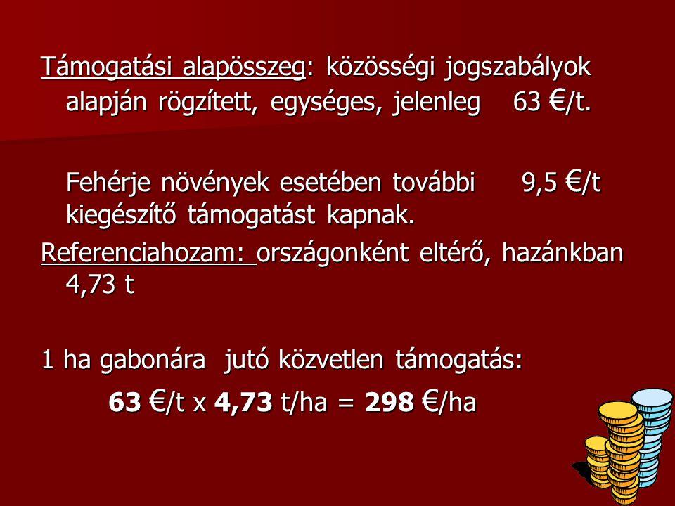 Támogatási alapösszeg: közösségi jogszabályok alapján rögzített, egységes, jelenleg 63 € /t.