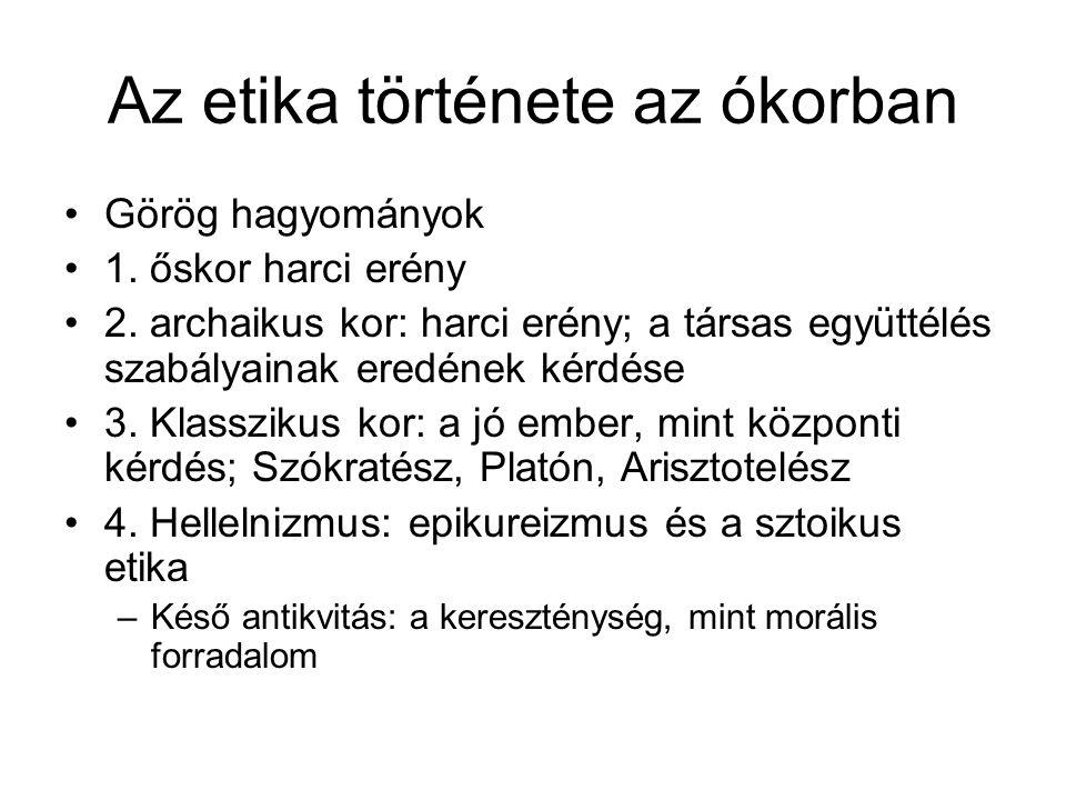 Az etika története az ókorban Görög hagyományok 1.