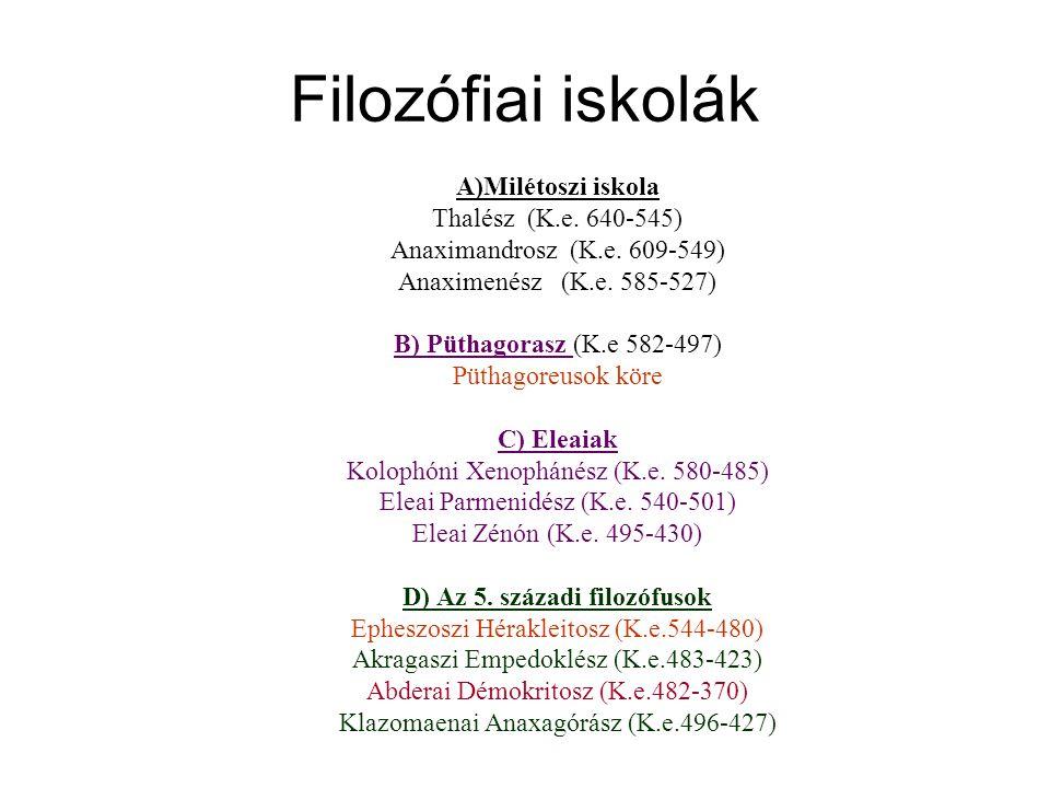 Filozófiai iskolák A)Milétoszi iskola Thalész (K.e.