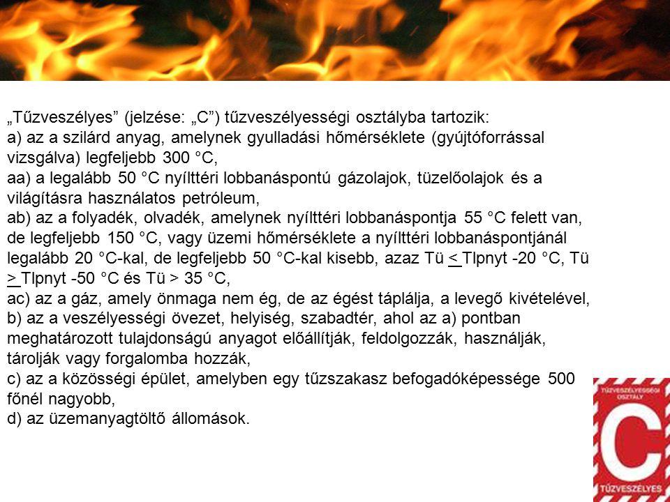 """""""Tűzveszélyes"""" (jelzése: """"C"""") tűzveszélyességi osztályba tartozik: a) az a szilárd anyag, amelynek gyulladási hőmérséklete (gyújtóforrással vizsgálva)"""