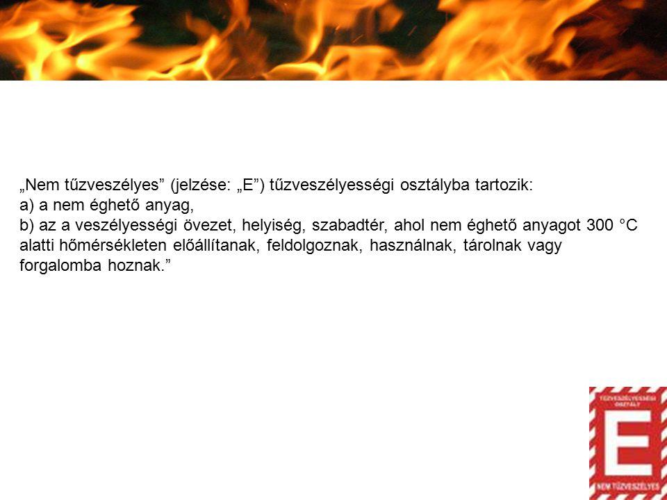 """""""Nem tűzveszélyes"""" (jelzése: """"E"""") tűzveszélyességi osztályba tartozik: a) a nem éghető anyag, b) az a veszélyességi övezet, helyiség, szabadtér, ahol"""