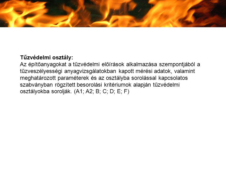 Tűzvédelmi osztály: Az építőanyagokat a tűzvédelmi előírások alkalmazása szempontjából a tűzveszélyességi anyagvizsgálatokban kapott mérési adatok, va