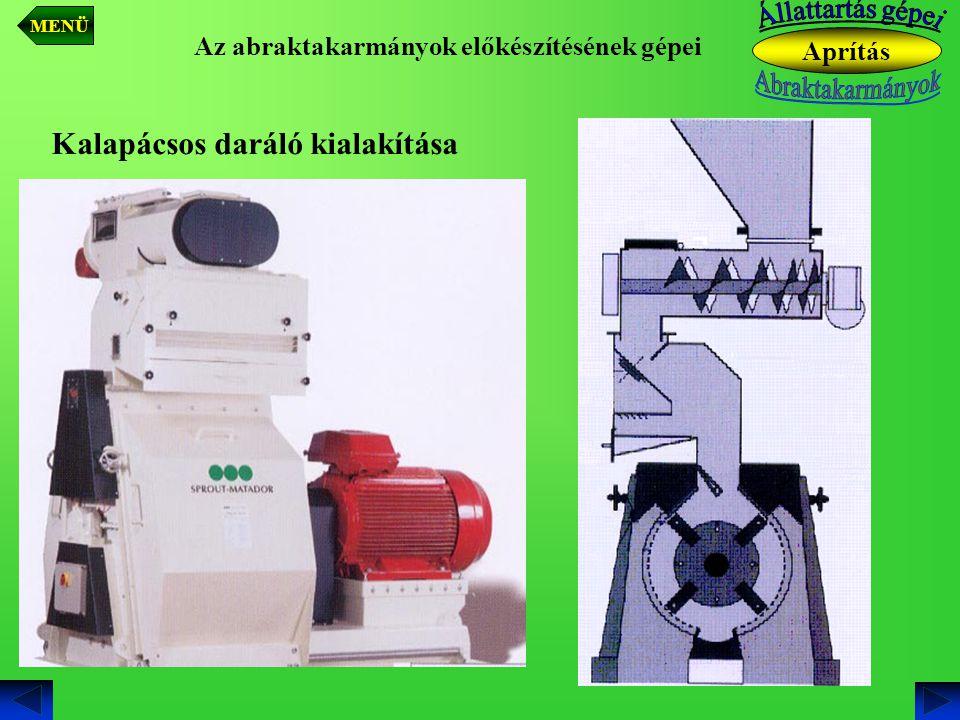 Az abraktakarmányok előkészítésének gépei Kalapácsos daráló kialakítása Aprítás MENÜ