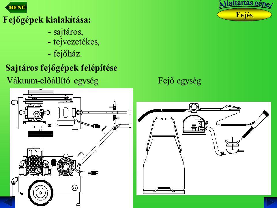 Fejőgépek kialakítása: - sajtáros, - tejvezetékes, - fejőház. Sajtáros fejőgépek felépítése Vákuum-előállító egységFejő egység Fejés MENÜ