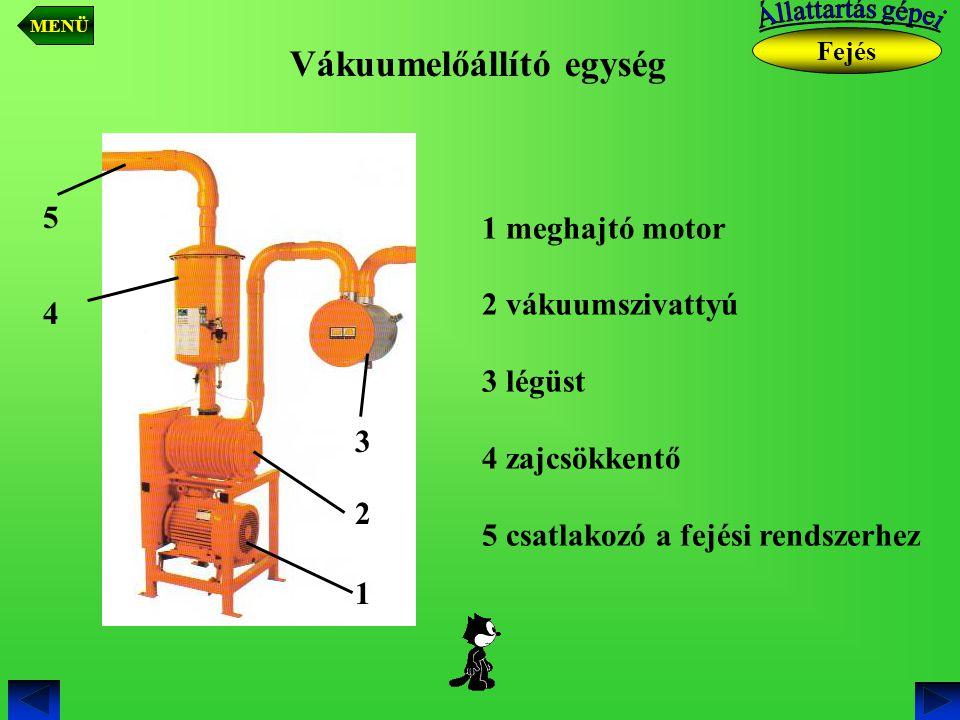 Vákuumelőállító egység 1 meghajtó motor 2 vákuumszivattyú 3 légüst 4 zajcsökkentő 5 csatlakozó a fejési rendszerhez 1 2 3 4 5 Fejés MENÜ