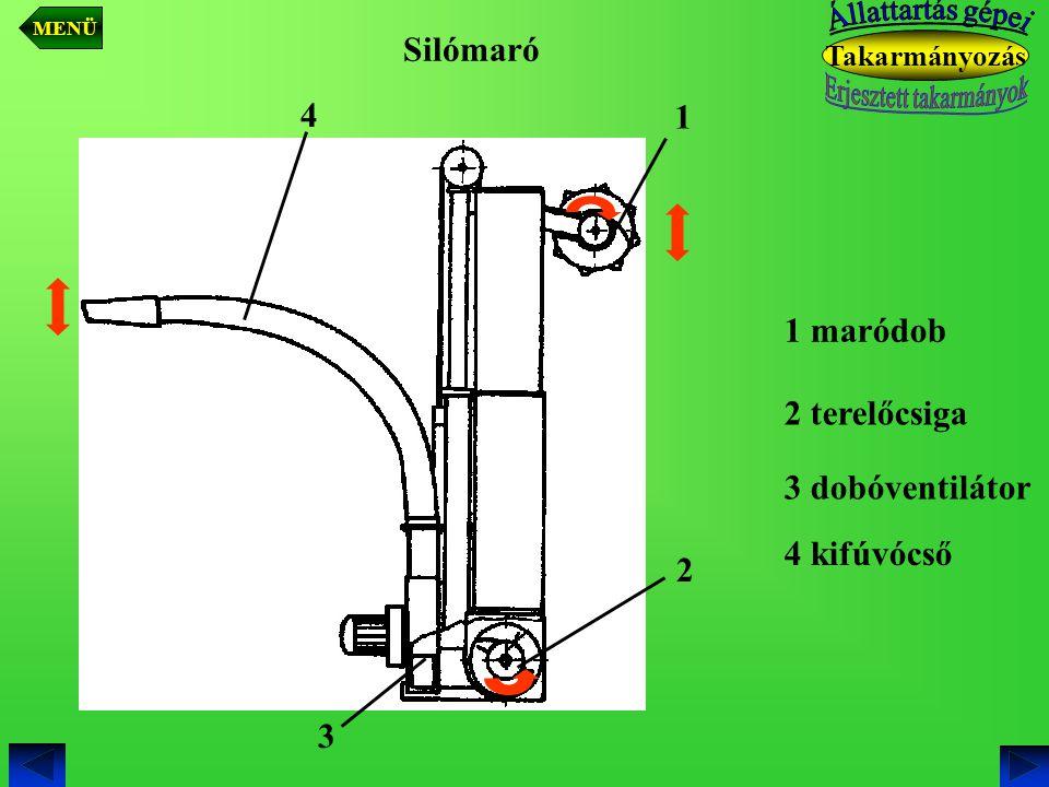 Takarmányozás 1 maródob 1 2 terelőcsiga 2 3 dobóventilátor 3 4 kifúvócső 4 Silómaró MENÜ