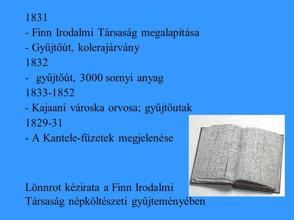 1831 - Finn Irodalmi Társaság megalapítása - Gyűjtőút, kolerajárvány 1832 -gyűjtőút, 3000 sornyi anyag 1833-1852 - Kajaani városka orvosa; gyűjtőutak