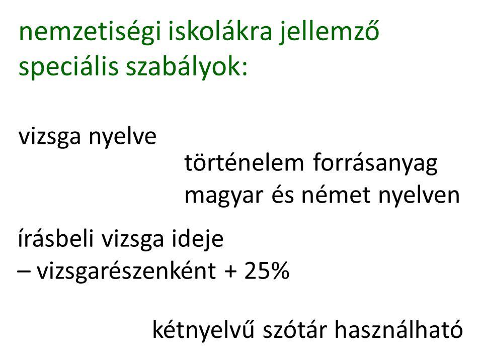 nemzetiségi iskolákra jellemző speciális szabályok: vizsga nyelve történelem forrásanyag magyar és német nyelven írásbeli vizsga ideje – vizsgarészenként + 25% kétnyelvű szótár használható