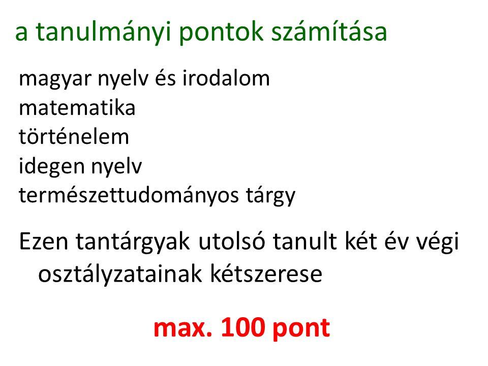 a tanulmányi pontok számítása magyar nyelv és irodalom matematika történelem idegen nyelv természettudományos tárgy Ezen tantárgyak utolsó tanult két év végi osztályzatainak kétszerese max.