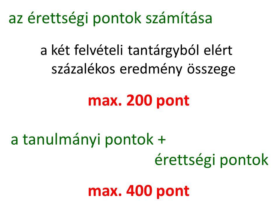 az érettségi pontok számítása a két felvételi tantárgyból elért százalékos eredmény összege max. 200 pont a tanulmányi pontok + érettségi pontok max.