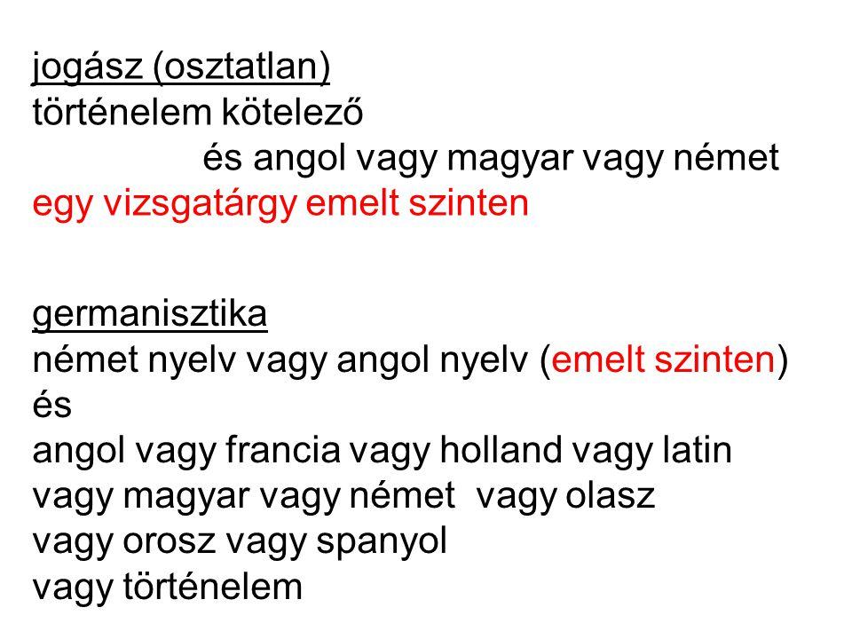 jogász (osztatlan) történelem kötelező és angol vagy magyar vagy német egy vizsgatárgy emelt szinten germanisztika német nyelv vagy angol nyelv (emelt