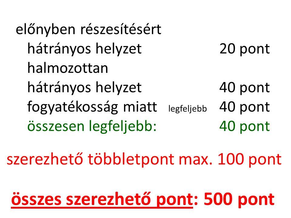 előnyben részesítésért hátrányos helyzet20 pont halmozottan hátrányos helyzet40 pont fogyatékosság miatt legfeljebb 40 pont összesen legfeljebb:40 pon