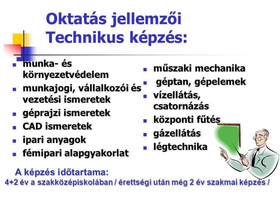 Oktatás jellemzői Technikus képzés: munka- és környezetvédelem munka- és környezetvédelem munkajogi, vállalkozói és vezetési ismeretek munkajogi, váll
